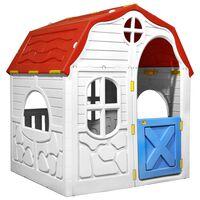 vidaXL Zložljiva otroška hišica z delujočimi vrati in okni