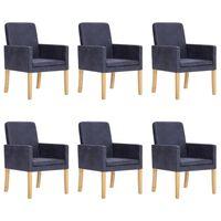 vidaXL Jedilni stoli 6 kosov sivo umetno semiš usnje
