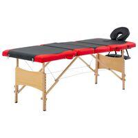 vidaXL Zložljiva masažna miza 4-conska les črna in rdeča
