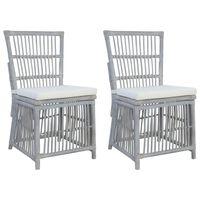 vidaXL Jedilni stoli z blazinami 2 kosa sivi naravni ratan