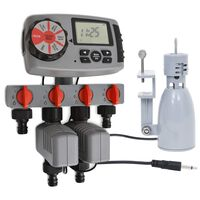 vidaXL Avtomatski časovnik za zalivanje 4 postaje in senzor za dež 3 V