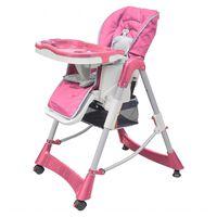 vidaXL Luksuzni stolček za hranjenje z nastavljivo višino roza barve