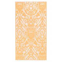 vidaXL Zunanja preproga oranžna in bela 120x180 cm PP