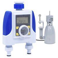 vidaXL Elektronski časovnik za zalivanje dvojni s senzorjem za dež
