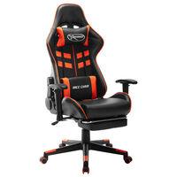 vidaXL Gaming stol z oporo za noge črno in oranžno umetno usnje