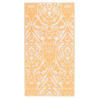 vidaXL Zunanja preproga oranžna in bela 80x150 cm PP