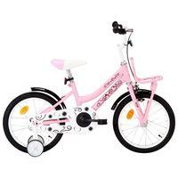 """vidaXL Otroško kolo s prednjim prtljažnikom 16"""" belo in roza"""