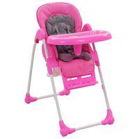 vidaXL Visok otroški stol za hranjenje roza in siv
