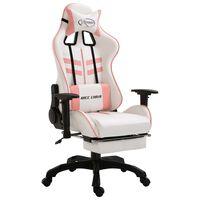 vidaXL Gaming stol z oporo za noge roza umetno usnje