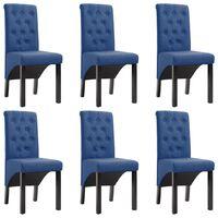 vidaXL Jedilni stoli 6 kosov modro blago