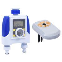 vidaXL Elektronski časovnik za zalivanje dvojni s senzorjem vlage