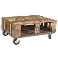vidaXL Klubska mizica na 4 kolesih iz predelanega lesa