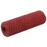 vidaXL Žična mreža za ograjo jeklo s PVC oblogo 25x0,5 m rdeča