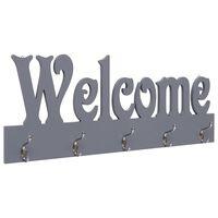 vidaXL Stenski obešalnik za plašče WELCOME siv 74x29,5 cm