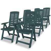 vidaXL Nastavljivi vrtni stoli 6 kosov plastika zelene barve