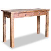 vidaXL Konzolna mizica iz masivnega predelanega lesa 123x42x75 cm
