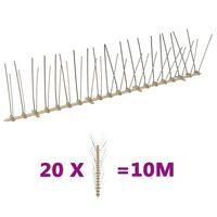 vidaXL Plastične bodice proti pticam in golobom 4-vrste 20 kosov 10 m