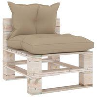 vidaXL Vrtni sredinski kavč iz palet z blazinami borovina