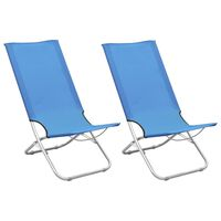 vidaXL Zložljivi stoli za na plažo 2 kosa modro blago