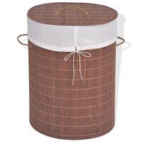 vidaXL Koš za perilo iz bambusa ovalen rjav