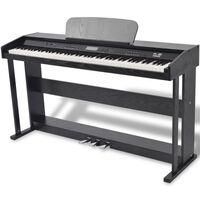 vidaXL Digitalni klavir s pedali melamin 88 tipk črni