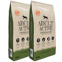 vidaXL Suha hrana za pse Adult Active Chicken & Fish 2 kosa 30 kg