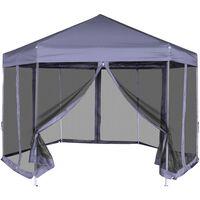 vidaXL Šestkoten Pop-Up šotor s 6 stranicami temno moder 3,6x3,1 m
