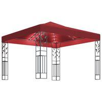 vidaXL Paviljon z LED lučkami 3x3 m vinsko rdeč