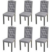 vidaXL Jedilni stoli 6 kosov sivo blago