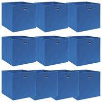 vidaXL Škatle za shranjevanje 10 kosov modre 32x32x32 cm blago