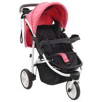 vidaXL Otroški voziček s 3 kolesi roza in črn