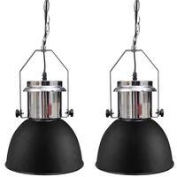 vidaXL Kovinska stropna svetilka 2 kosa z nastavljivo višino črna