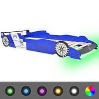 vidaXL Otroška postelja LED dirkalni avtomobil 90x200 cm modre barve