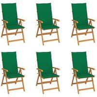 vidaXL Vrtni stoli 6 kosov z zelenimi blazinami trdna tikovina