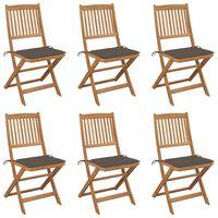 vidaXL Zložljivi vrtni stoli 6 kosov z blazinami trden akacijev les