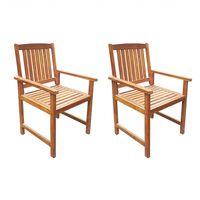 vidaXL Vrtni stoli 2 kosa trden akacijev les rjave barve