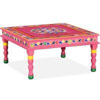 vidaXL Klubska mizica iz trdnega mangovega lesa roza ročno barvana