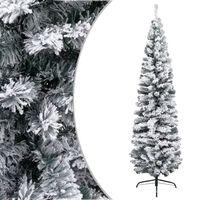 vidaXL Ozka umetna novoletna jelka s snegom zelena 210 cm PVC