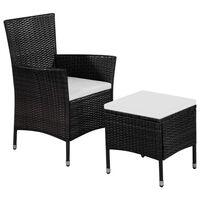 vidaXL Zunanji stol in stolček z blazinami poli ratan črne barve