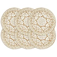 vidaXL Pogrinjki 6 kosov beli 38 cm okrogli iz jute