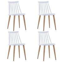vidaXL Jedilni stoli 4 kosi bela plastika