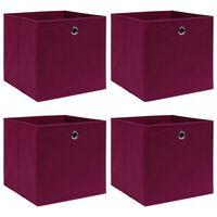 vidaXL Škatle za shranjevanje 4 kosi temno rdeče 32x32x32 cm blago