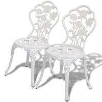 vidaXL Bistro stoli 2 kosa liti aluminij bele barve