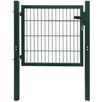 2D Vrata za Ograjo (Enojna) Zelene Barve 106 x 130 cm