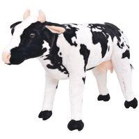 vidaXL Stoječa plišasta krava črna in bela XXL