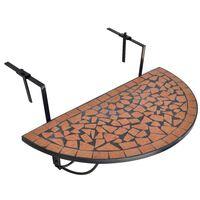 vidaXL Viseča balkonska miza terakota mozaik