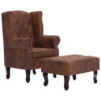 vidaXL Chesterfield fotelj in stolček za noge rjavo umetno semiš usnje