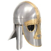 vidaXL Srednjeveška čelada starinska kopija LARP srebrno jeklo