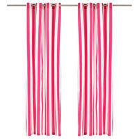 vidaXL Zavese s kovinskimi obročki 2 kosa blago 140x245 cm roza črte