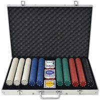 vidaXL Poker Set s 1000 Žetoni Aluminij